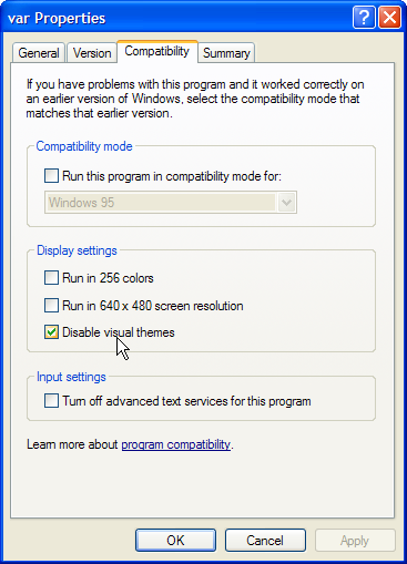 Properties dialog of var.exe in Windows XP with the Compatibility tab.